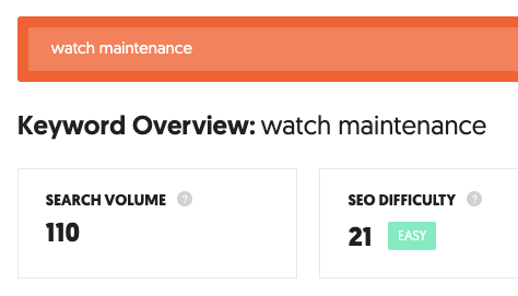 watch maintenance keyword research example